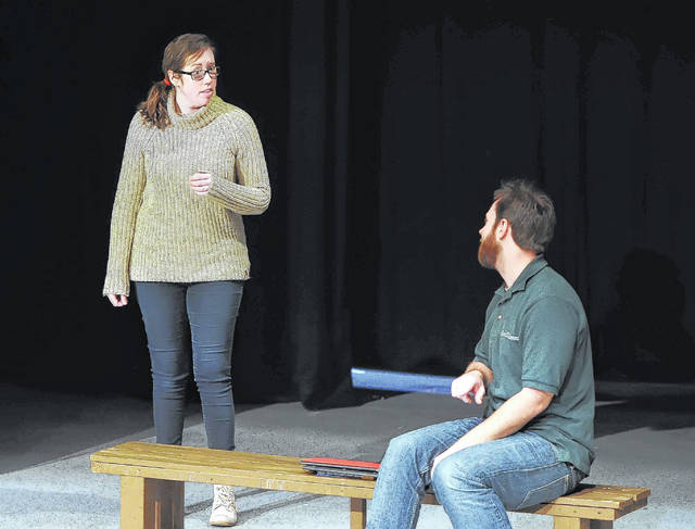 """Josh Ellerbrock, right, and Lauren Spyker rehearse scenes from """"Almost, Maine"""" at Encore Theatre. The production begins today and runs through March 18."""