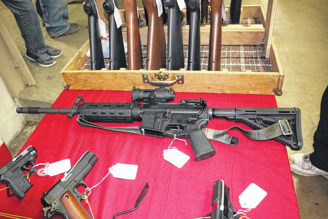 Gun dealers had a good supply of AR-15's to sell at the Tri-State Gun Collectors show at the Allen County Fairgrounds Saturday.