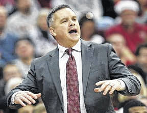 First-year Ohio State men's basketball coach Chris Holtmann shouts instructions to the Buckeyes during a December game against Appalachian State.