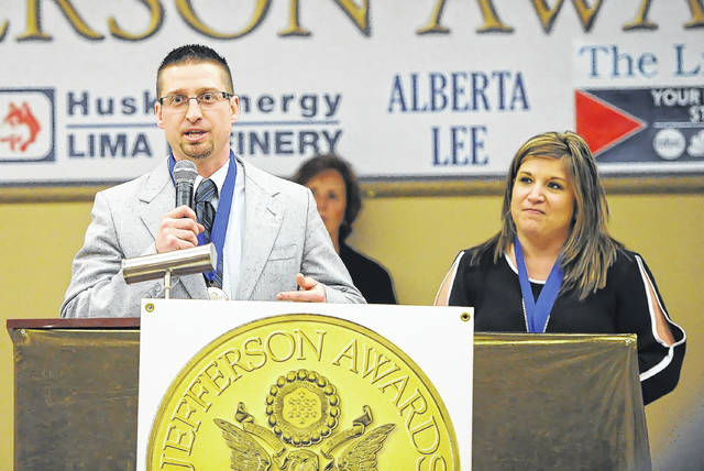 Cameron and Rachael Staley speak during Tuesday's 2018 Jefferson Awards ceremony held at the Knights of Columbus.
