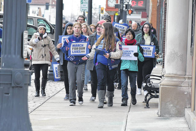 Hannah Bouillon, a junior at Crestivew High School in Convoy, organized the Van Wert March for Our Lives which began at the YWCA and went through the downtown to Fountain Park where a rally was held.