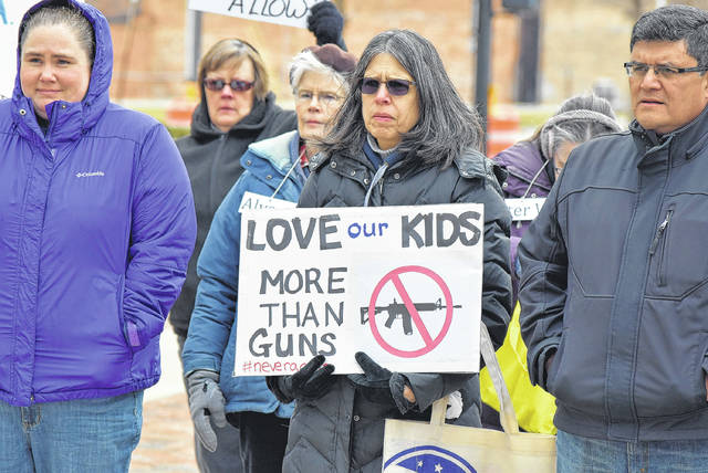 Marchers gathered in Lima's town square for the March for Our Lives, a protest against gun violence.