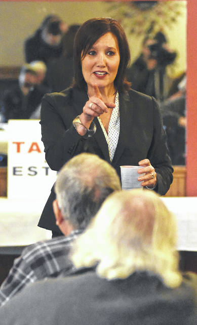 Ohio Lt. Governor Mary Taylor addresses an audience at Westgate Entertainment Center in Lima on Tuesday.