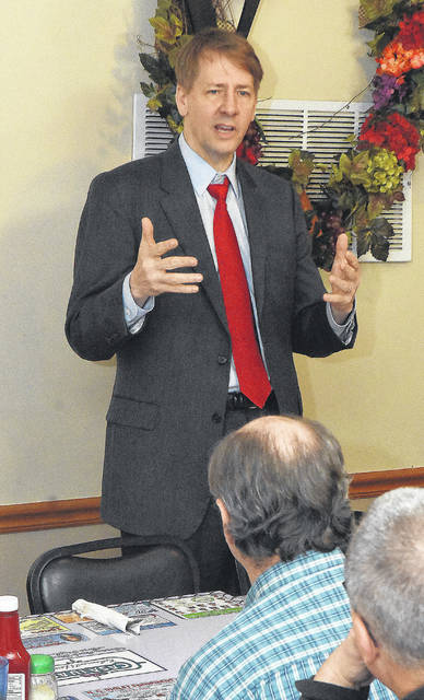 """Democratic candidate for governor Rich Cordray says he gets """"agitated sometimes thinking about how our state does economic development."""" Craig J. Orosz   The Lima News"""