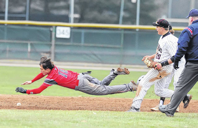 Lima Senior's Caleb Dugan steals second base against Shawnee during Saturday's doubleheader at Shawnee.