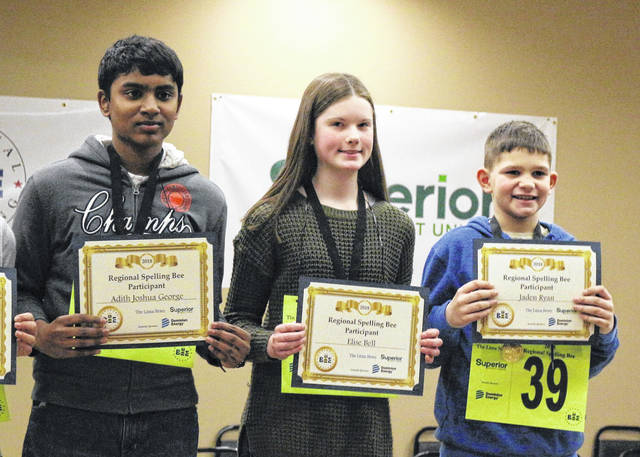Top three finishers in the 2018 Lima News Regional Spelling Bee are from left to right, Adith Joshua George, Elise Bell and Jaden Ryan.