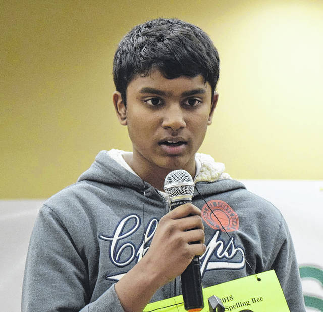 Adith Joshua George from Holy Angels Catholic School in Sidney wins the 2018 Lima News Regional Spelling Bee. He now advances to the Scripps National Spelling Bee in the Washington D.C. area. This is his second trip to the national bee.
