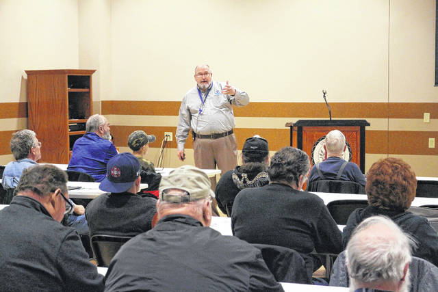 Michael Lewis with the National Weather Service, Northern Indiana, leads a storm spotter training class at the UNOH Event Center.