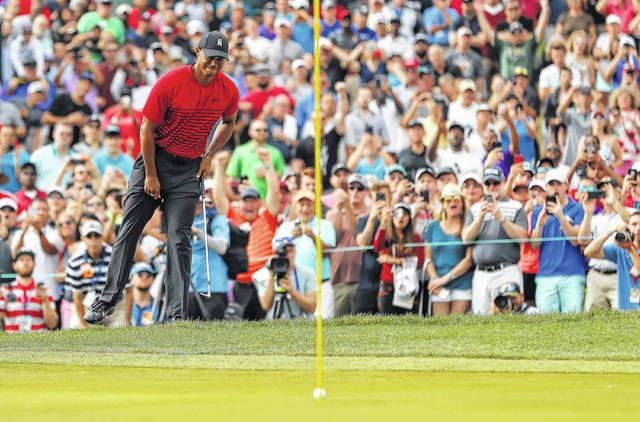 Tiger Woods reacts as his chip comes up just short on the 15th hole during the final round of the Valspar Championship golf tournament Sunday in Palm Harbor, Fla.