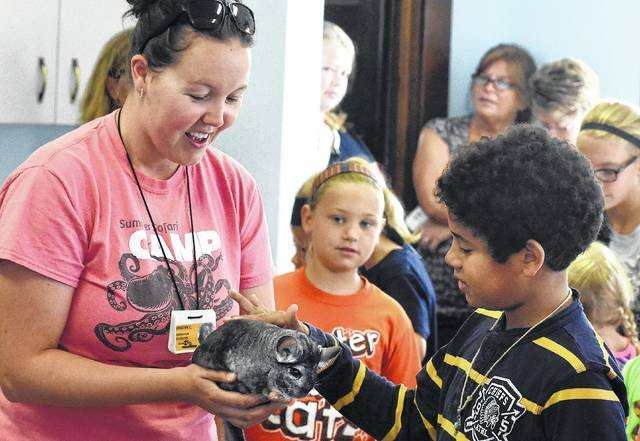 Kriatyn Carstensen, of the Toledo Zoo, holds a chinchilla for Lucio Mensez, 9, to pet during a presentation at the Stallo Memorial Library in Minster in August. Carstensen brought several other nocturnal mammals for children and parents to pet during her mammal presentation.