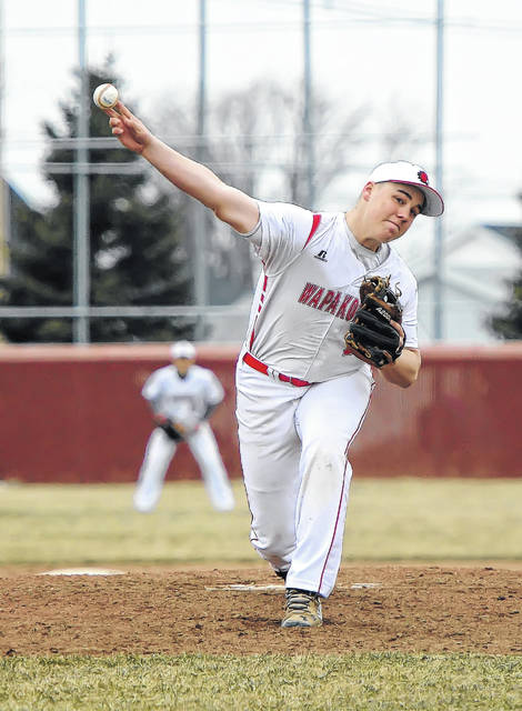 Wapakoneta's Manny Vorhees pitches against Delphos St. John's during Monday's game at Wapakoenta High School.