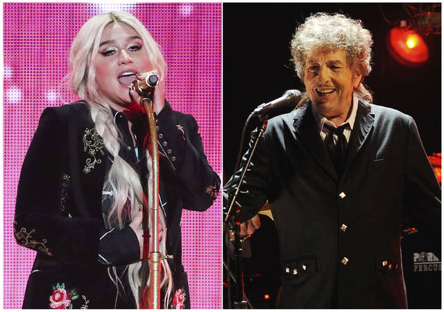 """This combination photo shows singers Kesha, left, and Bob Dylan, who have reimagined songs to honor the LGBTQ community for the six-song album, """"Universal Love,"""" released digitally Thursday."""