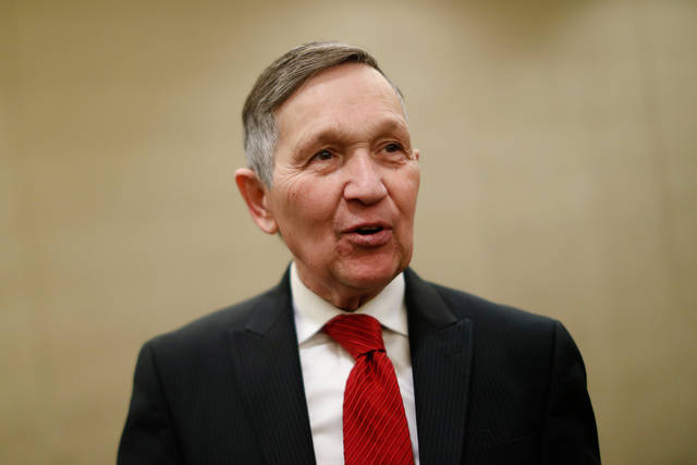 FILE - In this Jan. 18, 2018 file photo, former U.S. Rep. Dennis Kucinich speaks at a news conference after announcing his run for Ohio governor the previous day, in Cincinnati. Ohio's governor races have been heating up as early voting begins and the candidates begin the stretch drive to the May 8 primary. (AP Photo/John Minchillo, File)