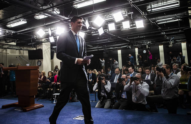 Speaker of the House Paul Ryan, R-Wis., tells reporters he will not run for re-election amid Republican concerns over keeping their majority in the House of Representatives, during a news conference at the Capitol in Washington, Wednesday, April 11, 2018. (AP Photo/J. Scott Applewhite)