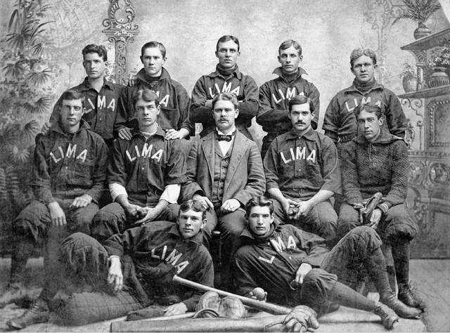 The Crescents, circa 1897. Back: Jim Bresnahan (Toledo), catcher; Jim Delehanty (Cleveland), third base; Jack Murray (South Bend, Indiana), second base; Frank Sealts (Lima), catcher; Tim McCarthy (Toledo), centerfield. Middle: Danny Burt (Toledo), left field; Bill Covert (Toledo), shortstop; Joe Starr (Toledo), manager; Jack Hunter (Toledo), right field; Henry Machen (Toledo), first base. Front: Eddie Mackey (Marion), pitcher; Roger Bresnahan, pitcher.