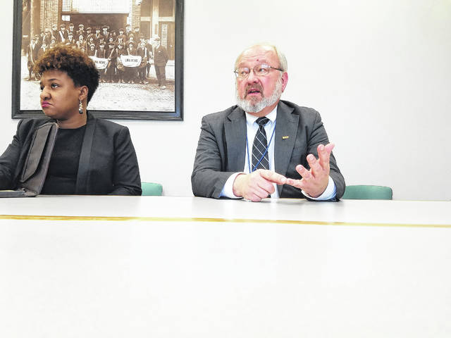 """Lima Mayor David Berger, right, and Chief of Staff Sharetta Smith discussed what Berger described as """"breakdowns in communication"""" between the City of Lima and the Allen Economic Development Group Wednesday."""