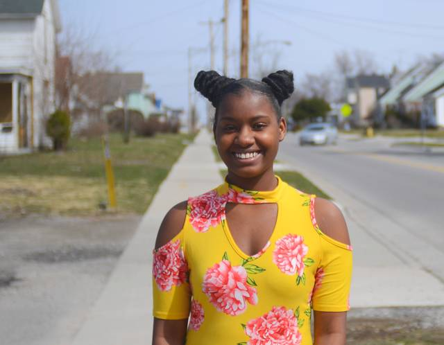 De'Oshanic Petaway stands not far from where her cousin, Da'Veon Petaway, was shot in March 2016 when he was 19. His death encouraged her anti-violence activism in the community.