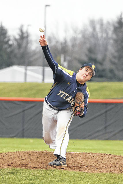 Chase Schrieber pitches for Ottawa-Glandorf during Friday's game against Elida at Ed Sandy Field.