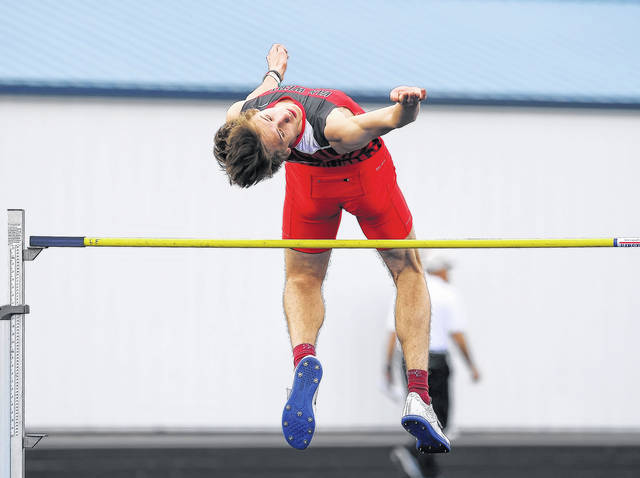 Van Wert's Blake Henry competes in the high jump during Friday's Gold Medal Track and Field Invitational in Ottawa. See more meet photos at LimaScores.com.