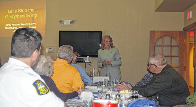 League of Women Voters of the Lima Area President Candace Newland discusses the importance of Issue 1 during the Kiwanis meeting Tuesday at Primrose Retirement Community.
