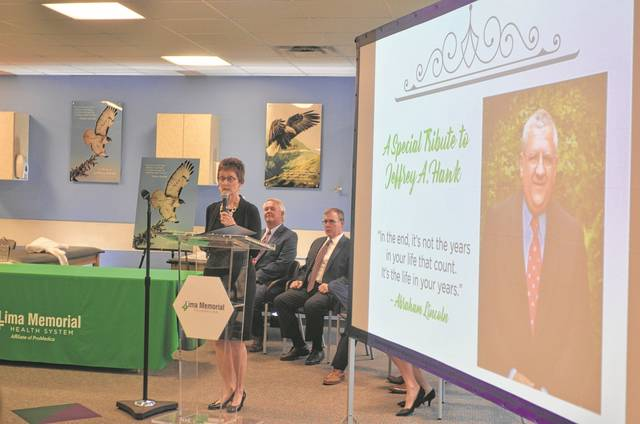 Jan Hawk, wife of the late Jeffrey Hawk, highlighted her husband's philanthropy at Lima Memorial and in the community during the Lima Memorial Foundation Ovation Thursday.
