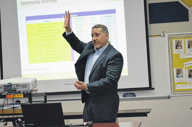 David Conley, president of Rockmill Financial Consulting, LLC., gave a presentation to Ottawa and Glandorf residents Monday warning of a dire future for the school district should the 1-percent income tax levy increase not pass in May.