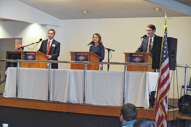 The three Republicans vying for the 84th District Ohio House seat debated the issues in Celina, Saturday. From left: Aaron Heilers, Susan Manchester, Travis Faber.