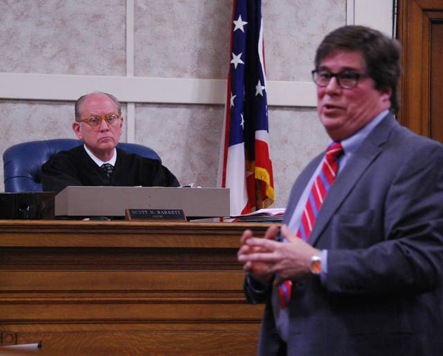 J Swygart | The Lima News Hardin County Prosecutor Bradford Bailey made his final case to jurors during closing arguments Tuesday at the trial of Tony Sheldon, charged with complicity to attempted aggravated murder and numerous other counts.
