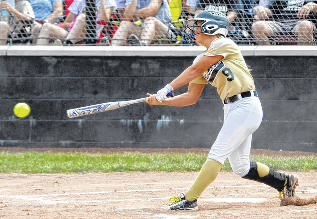 Macy Henkle hits for Parkway during Saturday's Division IV regional final against Bradford in Greenville.
