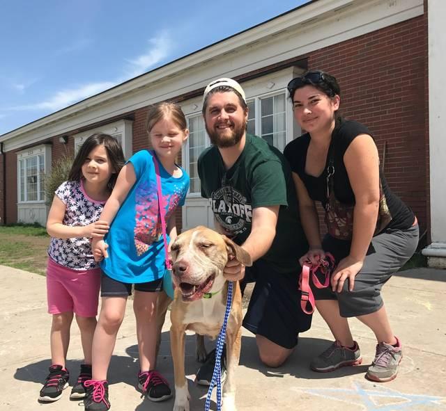 "This May 5, 2018 photo provided by Laura Simmons-Wark, shows the Wieferich family holding their dog ""Bambi"" at the Lucas County Canine Care & Control in Toledo, Ohio.  The dog ran away from the Lansing, Mich., family four years ago was reunited with them after being found more than 100 miles away in Ohio and identified through a microchip. Bradley Wieferich said he was surprised by the call from a microchip company telling him Bambi had been found. (Laura Simmons-Wark via AP)"