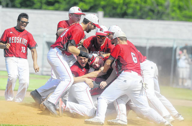 Wapakoneta's baseball team celebrates after an extra-innings victory against Ontario during Sunday's Division II regional championship game at Carter Park in Bowling Green.
