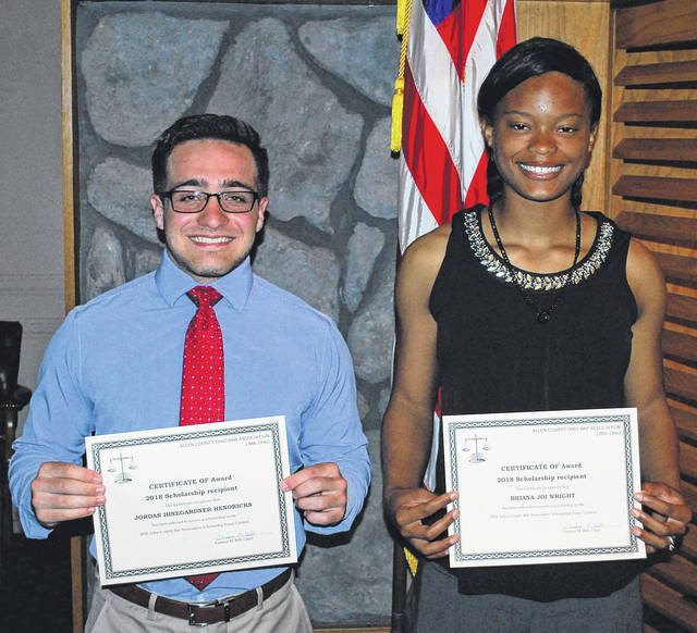 Jordan Hinegardner Hendricks, left, and Briana Joi Wright were the recipients of $2,500 college scholarships as this year's winners of the Allen County Bar Association's annual essay contest.