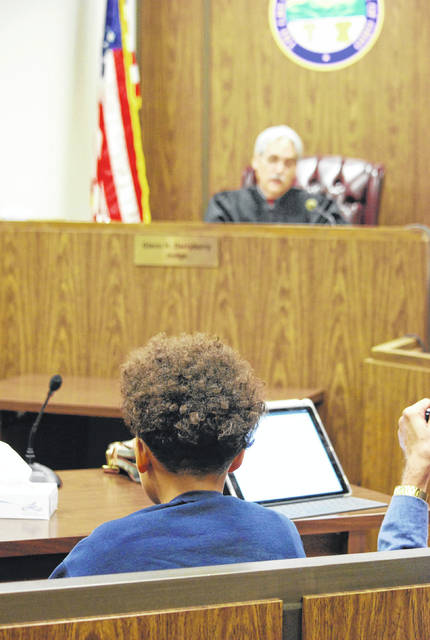 "J Swygart | The Lima News A plea of ""denial,"" or not guilty, was entered Thursday in Allen County Juvenile Court on behalf of a 13-year-old boy accused of posting a threat against Bath Middle School on social media one day earlier."