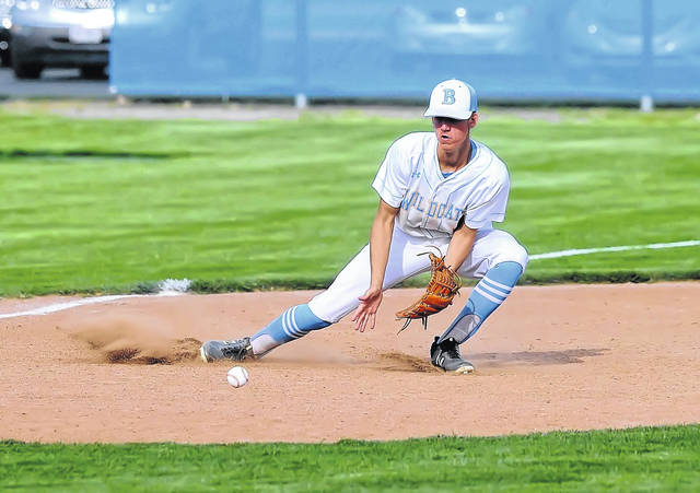 Bath's Isaiah Bolon fields a ground ball against Maumee during Wednesday's Division II sectional tournament at Bath High School.