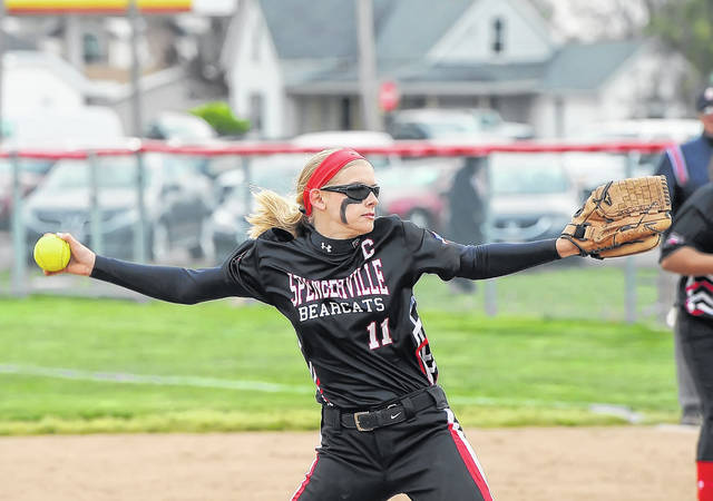 Spencerville's Julie Mulholland pitches against Columbus Grove during Friday nigh's game in Columbus Grove. See more game photos at LimaScores.com.