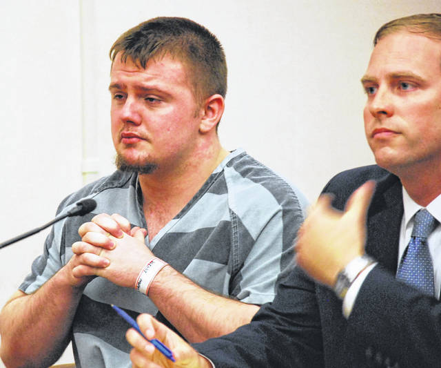 J Swygart | The Lima News  Dalton Duncan fought back tears Monday morning as he was sentenced in Allen County Common Pleas Court to four years in prison in connection with the 2017 shooting death of Lima resident Damere Oliphant.