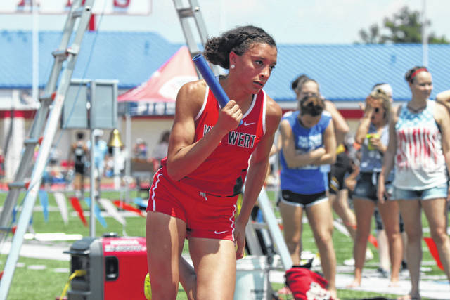 Van Wert 's Caylee Phillips competes in the 800 meter relay during Saturday's Division II regional at Piqua High School. See more regional photos at LimaScores.com.
