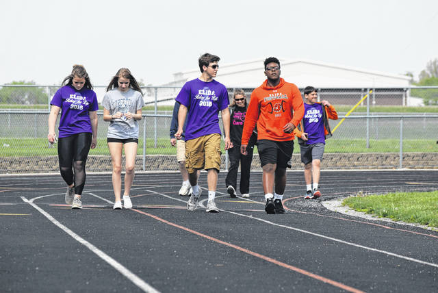 Elida Middle School's Track hosted a mini-Relay for Life organized by the Elida High School Student Council and the Good Vibes Club at the school.