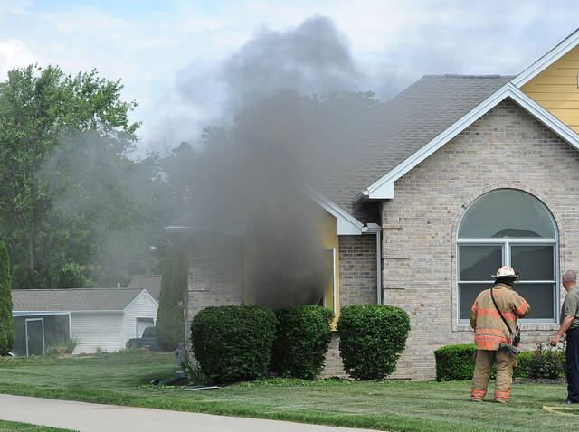 American Township Fire Department respond to an house fire at 4208 Harvest Way around 12:15 p.m. on Saturday.  The fire is under investigation.     Richard Parrish | The Lima News