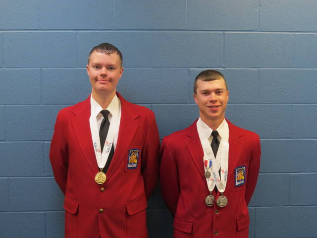 Vantage Career Center students Adam Schnipke, left, of Ottoville, and Aaron Sealts, of Fort Jennings, were both recognized at an Ohio competition.