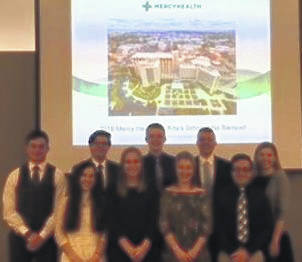 Photo submitted Pictured are winners of the Mercy-Health St. Rita's scholarship.In front, from left, are Jessica LaFontaine, Ashley Bowen, Kateland Keene and Jordan Hinegardner-Hendricks. In back are Erryk Katayama, Zachary Ziccardi, Jacob Kahle, Dominic Schroeder and Molly Fischbach.
