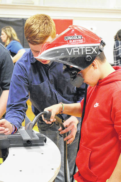 This Shawnee Middle School student is learning how to weld through virtual reality equipment.