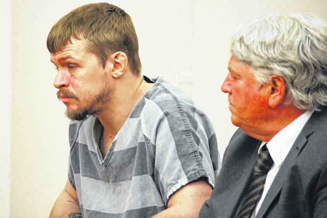 Gabriel Salyers, 31, on Thursday pleaded not guilty in Allen County Common Pleas Court to aggravated murder and other assorted charges in connection with the April death of 18-month-old Jaxxon Sullivan. Salyers faces life in prison if convicted of the most serious charges against him. He is pictured with his attorney, John Fisher.