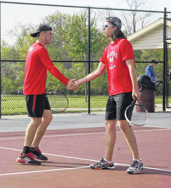 The Shawnee doubles team of Michael Rutter, left, and Isaac Hanover is returning to state in Division II after finishing second in district competition.