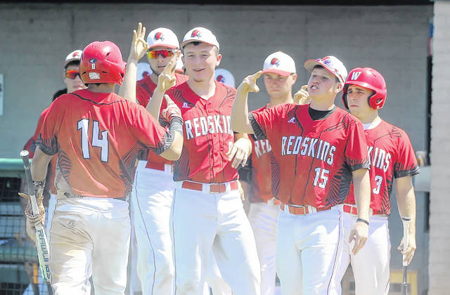 Wapakoneta's Jett Makar (14) celebrate with teammates after scoring against Oberlin Firelands during a Thursday Division II regional semifinal at Carter Park in Bowling Green.