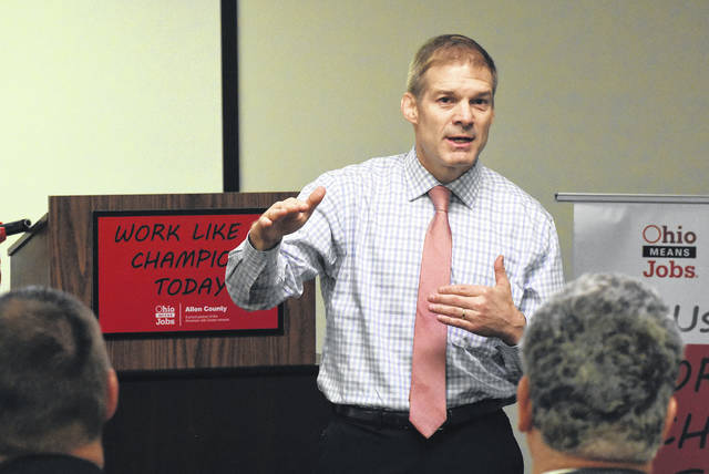 U.S. Congressman Jim Jordan, addresses Allen County Job & Family Services during a news conference on Friday morning on new employment incentives programs aimed at assisting Job and Family Services clientele.