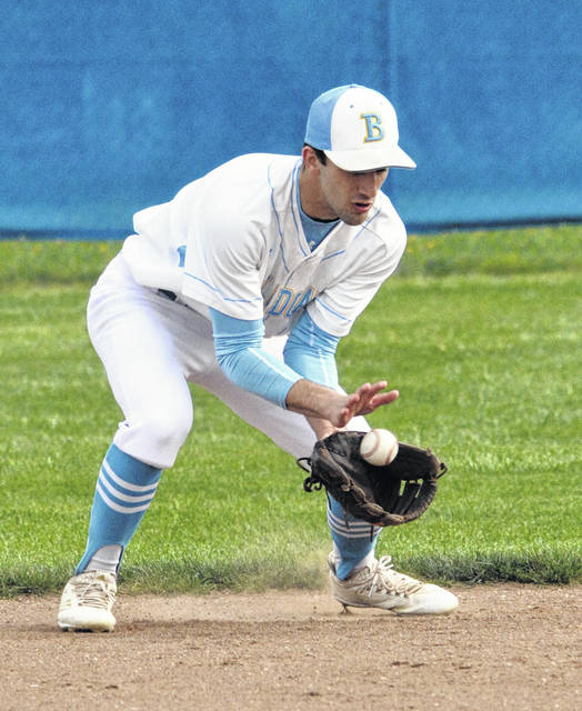Bath second baseman Luke Best fields the ball during Friday night's home game against Minster.