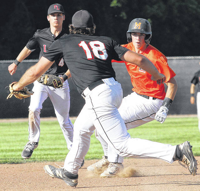 Fort Loramie's CJ Billing cuts-off Minster's Austin Shinabery at third base during a Division III regional semifinal on Thursday at Carleton Davidson Stadium in Springfield.