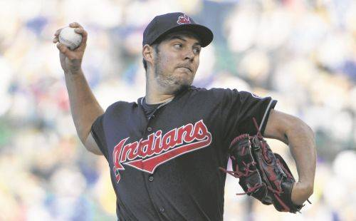 Cleveland Indians starting pitcher Trevor Bauer (47) throws against the Chicago Cubs during the first inning of an interleague baseball game, Tuesday, May 22, 2018, in Chicago. (AP Photo/David Banks)