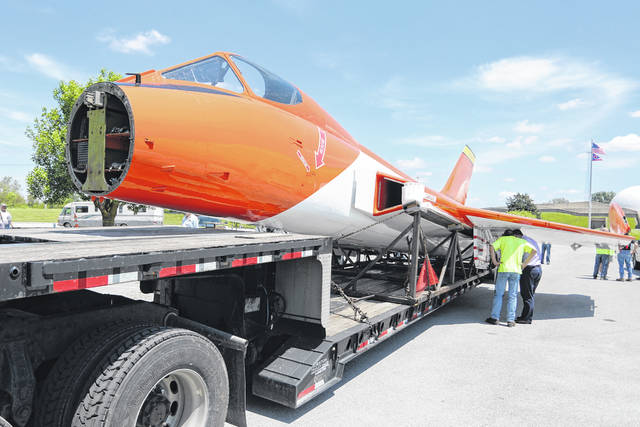 The F5D-1 Skylancer arrives back at the Neil Armstrong Musuem on Wednesday afternoon, after repairs and restorations.